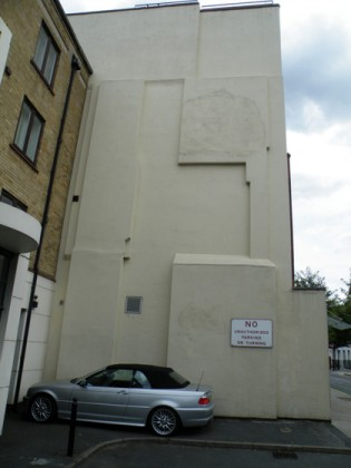 Before:  The flank wall of Lighterman House on Wharfdale Road.